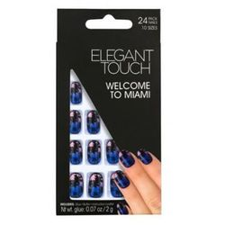Elegant Touch - Sztuczne paznokcie zdobione z klejem Welcome to Miami, 24 sztuki+ klej 2 g