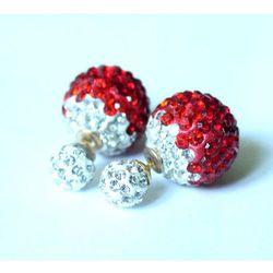 Kolczyki TRIBAL shamballa czerwono-białe