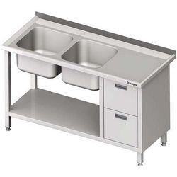 Stół ze zlewem dwukomorowym z dwiema szufladami i półką STALGAST 1400x700x850 lewy