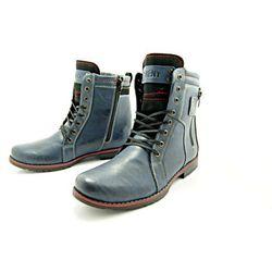 KENT 237 GRANATOWE - Wysokie męskie buty zimowe ze skóry