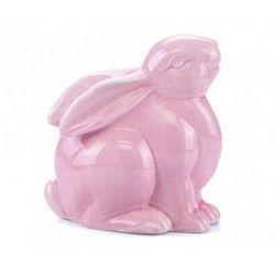 Zając siedzący z porcelany różowy
