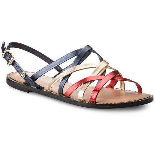 Sandały TOMMY HILFIGER - Metallic Strappy Flat Sandal FW0FW02776 Rwb ... 3e8c728f1d2