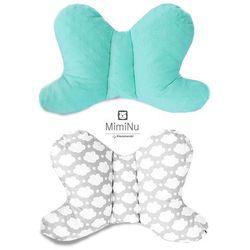 Poduszka podróżna antywstrząsowa, Motylek Minky, mięta + chmurki szare, 45x29 cm Darmowa dostawa do sklepów SMYK
