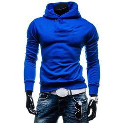 Niebieska bluza męska z kapturem Denley 1621 - NIEBIESKI Bluzy - 39,99 (-20%)