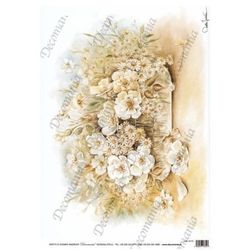 Papier ryżowy Decomania 35x50cm - KWIATY W SEPII