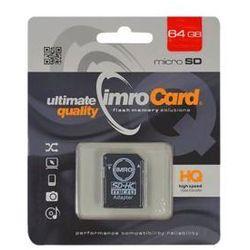 IMRO KARTA FLASH MICROSD 64GB 10 UHS-I Z ADAPTEREM DARMOWA DOSTAWA DO 400 SALONÓW !!