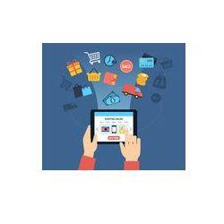 Foto naklejka samoprzylepna 100 x 100 cm - Zakupy on-line background - klienta rzeczy kupowanie przez internet