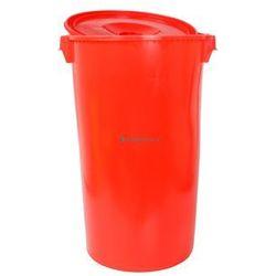 Okrągły pojemnik plastikowy z pokrywą 60l (Kolor: czerwony)