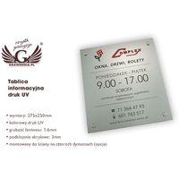 Tablica informacyjna - cyfrowy druk UV - SZUV004 wymiary 275x250mm