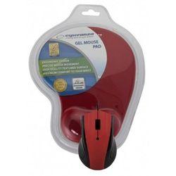 Mysz przewodowa z podkładką żelową Czerwona Esperanza EM125R