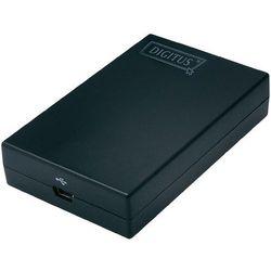 Przejściówka USB, VGA, Digitus DA-70833, [1x zł. żeńskie mini-USB 2.0 B => 1x zł. żeńskie VGA ], Czarny, złącze: prosty