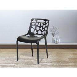 Krzeslo ogrodowe - plastikowe czarne - krzeslo z tworzywa sztucznego - MORGAN