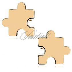 Srebrne kolczyki puzzle - pozłacane - Żółte złoto
