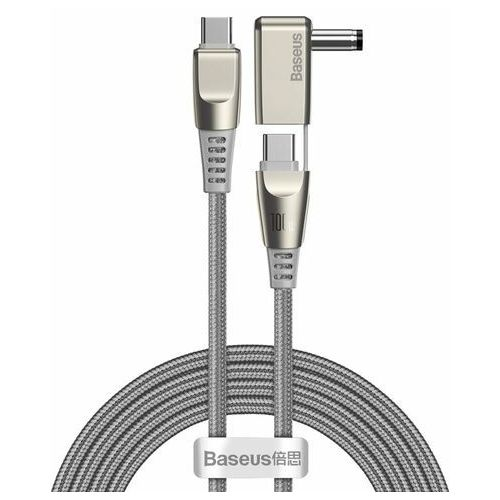 Baseus Flash Series One-for-two Fast Charging Data Cable with Round Head Type-C to C DC 100W 2m Grey - Szary