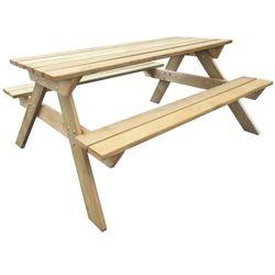 vidaXL Drewniany stół piknikowy z ławkami 150 x 135 71,5 cm Darmowa wysyłka i zwroty