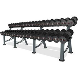 Zestaw hantli stalowych gumowanych 5-50 kg czarny połysk ze stojakiem L MP-HSGk4-L-k1 MARBO