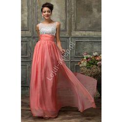 Koralowa długa sukienka z kryształkami | sukienki wieczorowe