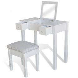 Biała toaletka z taboretem i obrotowym lustrem Zapisz się do naszego Newslettera i odbierz voucher 20 PLN na zakupy w VidaXL!