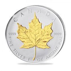 Kanadyjski Liść Klonowy 1 uncja srebra platerowana złotem