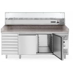 Stół chłodniczy do pizzy 2-drzwiowy z nadstawą, 7 szufladami i blatem granitowym | 580L | 2020x800x(H)1110mm