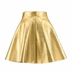 Spódnica skórzana złota rozkloszowana