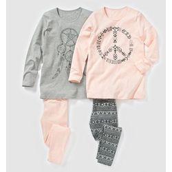 Dżersejowa piżama z nadrukiem peace 10-16 lat (2-pak)