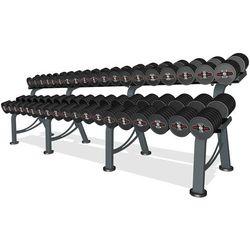 Zestaw hantli stalowych gumowanych 5-50 kg czarny połysk ze stojakiem L MP-HSGk4-L-k1 - Marbo Sport