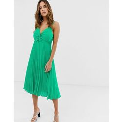 667e3ce3 ASOS DESIGN cami midi dress with pleat skirt and knot bodice - Green