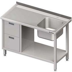 Stół ze zlewem jednokomorowym z dwiema szufladami i półką STALGAST 1500x700x850 prawy