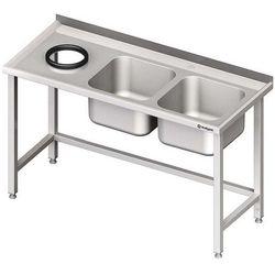 Stół ze zlewem dwukomorowym z otworem na odpadki STALGAST 1500x700x850 prawy
