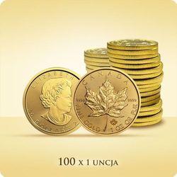 Kanadyjski Liść Klonowy 1 uncja złota x 100