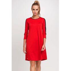 Czerwona Rozkloszowana Sukienka z Elementami Eco-skóry