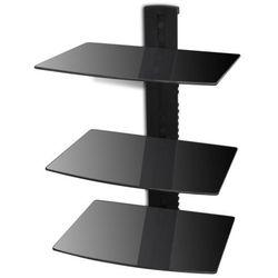 vidaXL Ścienna, szklana półka na płyty DVD, 3 poziomy, czarna Darmowa wysyłka i zwroty