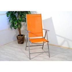 Rovens.pl Pomarańczowe składane krzesło aluminiowe , ogrodowe, campingowe, regulowane,
