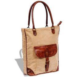 8492d204a7555 vidaXL Płócienno-skórzana torba z kieszenią i klamrą Darmowa wysyłka i  zwroty