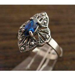 BRESCA - srebrny pierścionek z szafirem