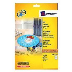Etykiety samoprzylepne na płyty CD/DVD białe Avery Zweckform L6043-100