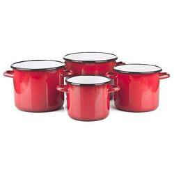 Komplet garnków emaliowanych prostych Red