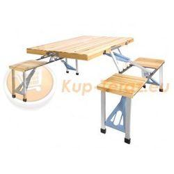 Stolik stół turystyczny składany drewniany z krzesłami na camping