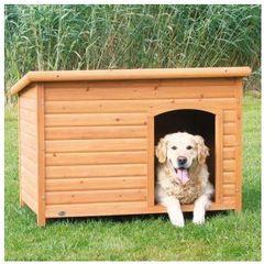 Naturalna buda dla psa z płaskim dachem Kolor:Brązowy / Biały, Rozmiar:XL