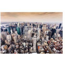 Plakat Widok z lotu ptaka Manhattan Skyline o zachodzie słońca w Nowym Jorku