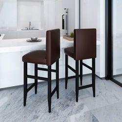 vidaXL Krzesła barowe, skóra brąz Darmowa wysyłka i zwroty