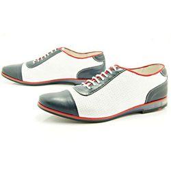 KENT 262D NIEBIESKI-BIAŁY - Skórzane buty męskie casual z dziurkami WYPRZEDAŻ