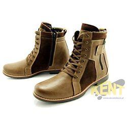 KENT 237 BRĄZ+WELUR - Wysokie męskie buty zimowe ze skóry