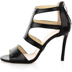 Czarne skórzane sandały na obcasie