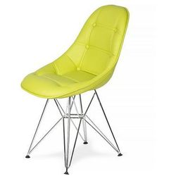 Krzesło DSR Ekoskóra - Limonka, nogi metalowe.