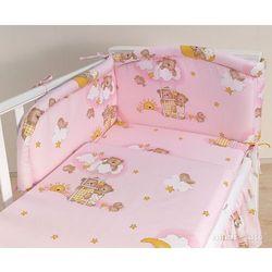 MAMO-TATO pościel 3-el Drabinki z misiami na różowym tle do łóżeczka 70x140cm