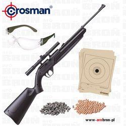 Wiatrówka Crosman 760 Pumpmaster kal. 4,5mm - Zestaw: luneta 4x15 mm, okulary ochronne, śrut, kulki, tarcze