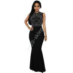 Długa suknia ze srebrnymi jetami | długie czerne suknie