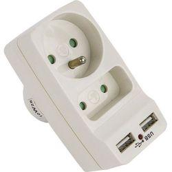 ZŁODZIEJKA ROZGAŁĘŹNIK 2 GNIAZDKA + 2 WEJŚCIA USB BIAŁY